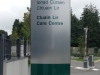 Freestanding sign clad with aluminium composite panels