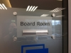 Board Room sign on clear acrylic panel