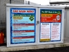 Car wash menu graphics applied to doors of wash storage unit