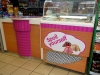 Self-adhesive graphics produced and applied to ice-cream fridge