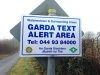Garda Text Alert sign produced on aluminium composite sign panel
